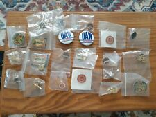 22 UAW Pins, Mostly Stick Pins, 2 Buttons
