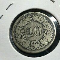 1850 SWITZERLAND SILVER 20 RAPPEN COIN