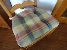 New listing Country Curtains Cotton Plaid Tufted Chair Pad with 2 Ties Made in Usa