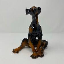 "Vintage Porcelain 7.5"" Bloodhound Dog Figurine ~ Sitting Unique Sculpture"