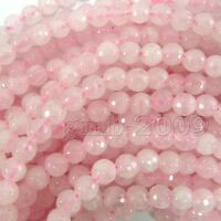 "Pretty 4mm Natural Faceted Rose Quartz Ronund Gemstone Loose Beads 15"" AAA"