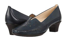 SAS Shoes Sonyo Womens 7.5 V Cut Pump Moccasin Perforated Navy Blue Leather $167
