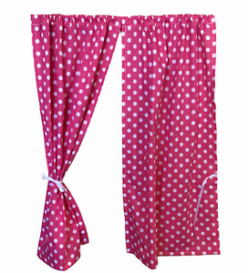 GIRLS PLAYHOUSE CURTAINS ~ PINK DOTTY ~ WENDY/SUMMER HOUSE ACCESSORIES