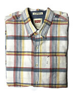 Levi's Mens Button Up Shirt Size L Short Sleeve Plaid Print Collared Cotton