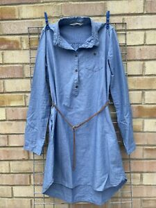 H&M Blue Cotton Girls dress w belt 14+ Yrs