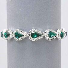 Vintage Inspired Estate Emerald Green Rhinestone Bracelet  (Sparkle-1541-U)