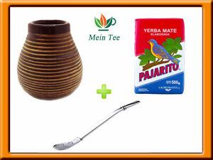 Mein Teeshop Mate Becher Keramik braun + Bombilla  + Pajarito Elaborada 500g