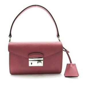 Authentic PRADA 2way shoulder bag BN2662 Calf leather Saffiano Pink SHW Used