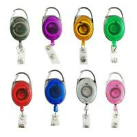 Retractable Reel Clip Badge Holder ID Card Key Ring Carabiner Metal shape O K2P5