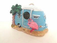 Camper Themed Flamingo Palm Tree Exotic Bird House New