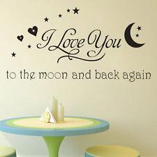 I Love you Phrase autocollant Sticker mural noir muraux déco décoration chambre