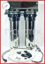 Water filter 2 stage under sink stainless steel with tap pressure gauge filters