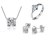 925 Sterling Silver 2.0 Cts CZ  Love *Heart* Jewelry Set: Necklace+Earring+Ring