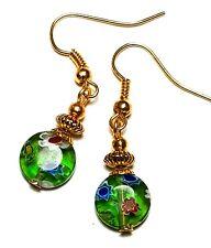 Short Gold Green Millefiori Earrings Glass Bead Drop Dangle Pierced Hook