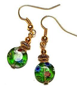 Short Gold Green Millefiori Earrings Glass Bead Drop Dangle Vintage Chic Boho