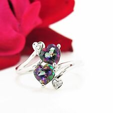 Sweet 14 k white gold two stone promise ring mystic topaz hearts & diamonds s.9