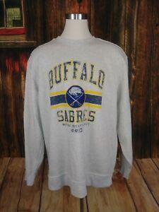 NHL Buffalo Sabres Men's Gray Yellow Blue Size 4XL Crew Neck Pullover Shirt