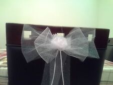 9 White Tulle Pew-car- chair Bows for wedding .