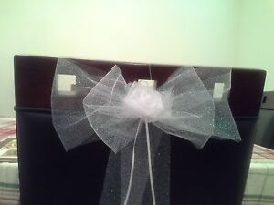 19 White Tulle Pew-car- chair Bows for wedding .