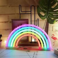 1Pc Rainbow Neon Sign LED Light Colorful Wall Lamp Decor Kids Room Night Light