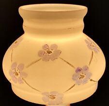 New ListingHand Painted Milk Glass Miniature Oil Lamp Shade Lilac 6-Petal Flowers Diamonds