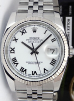 ROLEX 18kt White Gold & Stainless Datejust White Roman CARD 116234 SANT BLANC