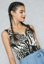 TOPSHOP– Tiger Print Black and Cream Crop Top new size 12