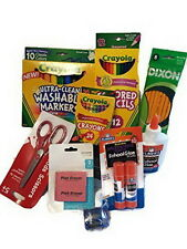 Back to School Essentials Supplies Kit Bundle Pens Pencils Notebooks Crayon K-8