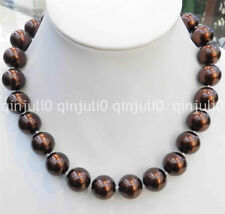 """Beautiful 16mm Brown Coffee South Sea Shell Pearl Necklace 18"""" JN1284"""
