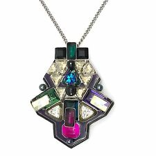 Swarovski Necklace Pendant Buzz Palladium PVD  Clear and Purple Crystals 5070638