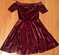 Xhilaration Crushed Velvet Maroon Christmas Holiday Fit Flare Dress S SMALL