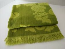 Vintage Bath Towel  Groovy Green Cannon Monticello Fringed