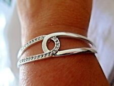Silver Cuff Bangle Bracelet with CZ Crystals Beautiful Interlocking Design SP925