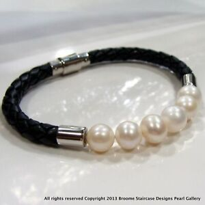 Cultured Freshwater Pearl Bolo Black Leather Bracelet