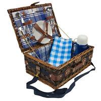 Picknick Korb komplett Geschirr Porzellan für 2 / Weidenkorb - Gläser Besteck