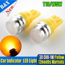 2x T10 158 194 168 W5W COB 1W smd led Car Light Bulb Lamp Amber / Yellow DC 12V