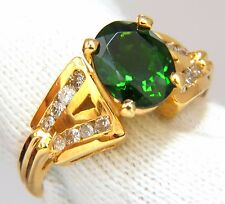 GIA Certified 2.49ct Natural vivid Green Chrome Diopside diamonds ring 14kt