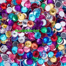 80 x rhinestone cabochons acrylic faceted dome mixed colours scrapbooking 8mm