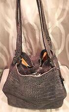 Spanish leather Hobo Shoulderbag by Puntotres Sz Ex Large Fauc Croc Brown