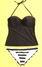 Old Navy Tankini Top & Banana Republic Blk/White Bottoms ~ Medium ~ NWT