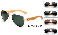 Polarized Bamboo Sunglasses Classic Aviator Gold Men Women Wooden Frame UV 100%