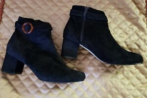 Womens Leather Craft Black Ankle Boots Suede 7.5 Velvet Fashion Dress Shoe Heels