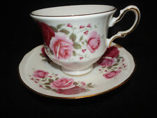 Queen Anne Cup and Saucer Set Fine Bone China England B676  Pink & Red Roses