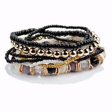 Armband NEU Strass Damen Schwarz Weiss Grau Ibiza Perlen Elastisch Shamballa