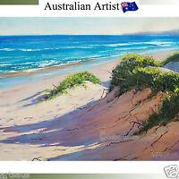 Beach Oil Painting Listed Artist SEASCAPE Sand Dunes Ocean Artwork by G Gercken