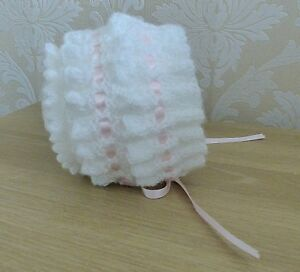 hand knitted baby girls bonnet 0/3 months white