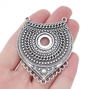 2 x Large Boho Chandelier Connector Pendants Blank 14mm Round Cabochon Settings