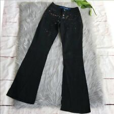 Women Save the Queen Black OHDD Wide Leg Embellished Mid Rise Goth Punk Jeans 26