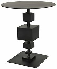 "24"" W Set of 2 Accent Table Modern Black Metal Stacked Cubes Base"