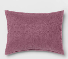 Opal House Collection Stitched Medallion Pillow Sham, KING, Eggplant